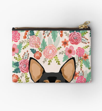 Chihuahua dog floral pet pure breed gifts for chihuahua black and tan Zipper Pouch