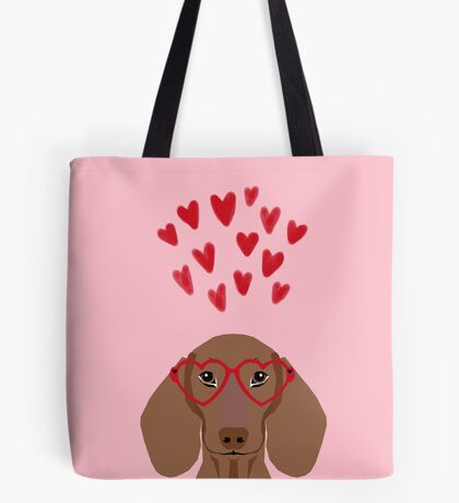Dachshund valentines day love heart gifts dog breed doxie must haves Tote Bag