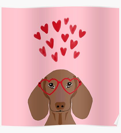 Dachshund valentines day love heart gifts dog breed doxie must haves Poster