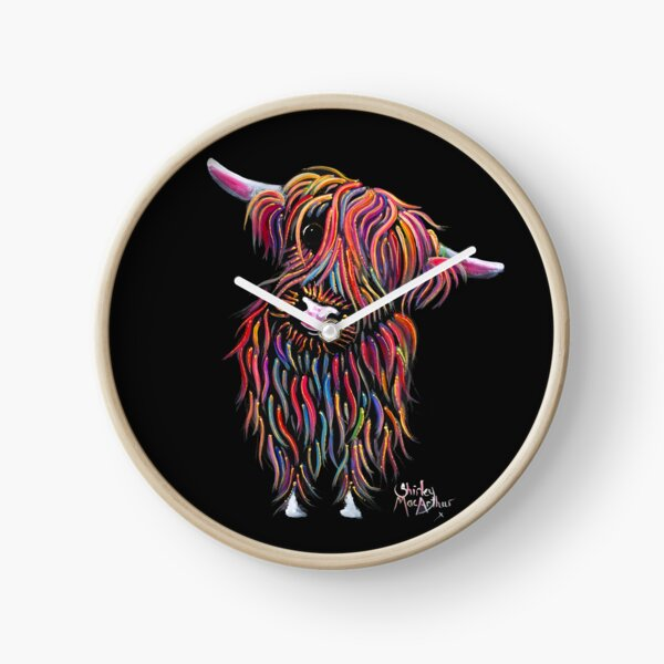 Scottish Highland Cow ' BoLLY ' by Shirley MacArthur Clock