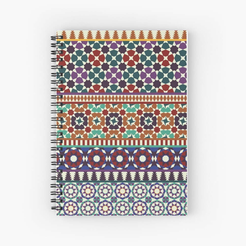 Alhambra Tessellations - red, blue and purple Spiral Notebook