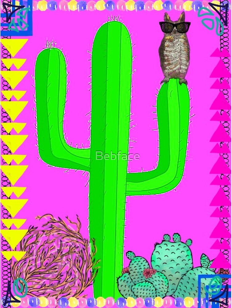 Hot Pink, Green Cactus Scene with Owl by Bebface