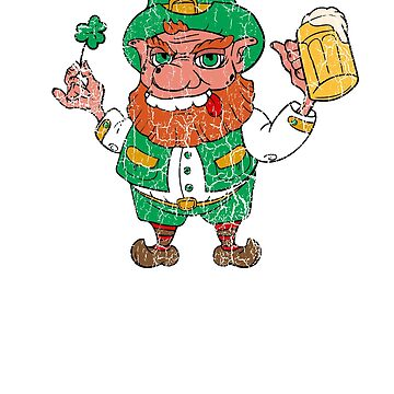 Funny St Patrick's Day Shirt With Leprechaun For Beer Lover by Stella1