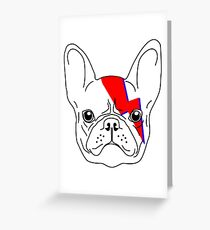 A-Dog-Insane - David Bowie Aladdin Sane French Bulldog Lightening Bolt Greeting Card