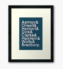 Sci-Fi Authors Helvetica Framed Print