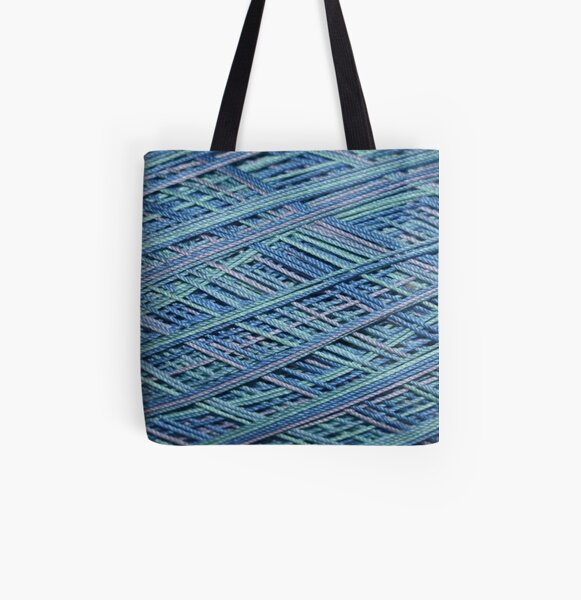 Hues of Blue Crochet Thread All Over Print Tote Bag