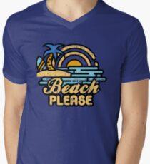 Camiseta para hombre de cuello en v Playa por favor