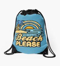 Beach Please Drawstring Bag