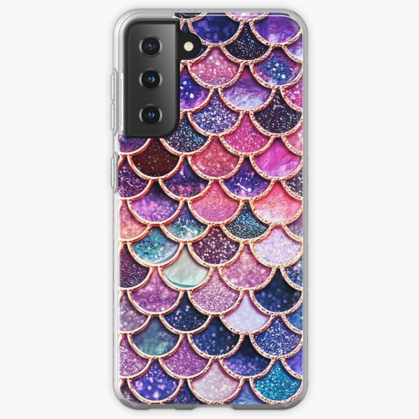 Pink Sparkle Faux Glitter Mermaid Scales Samsung Galaxy Soft Case