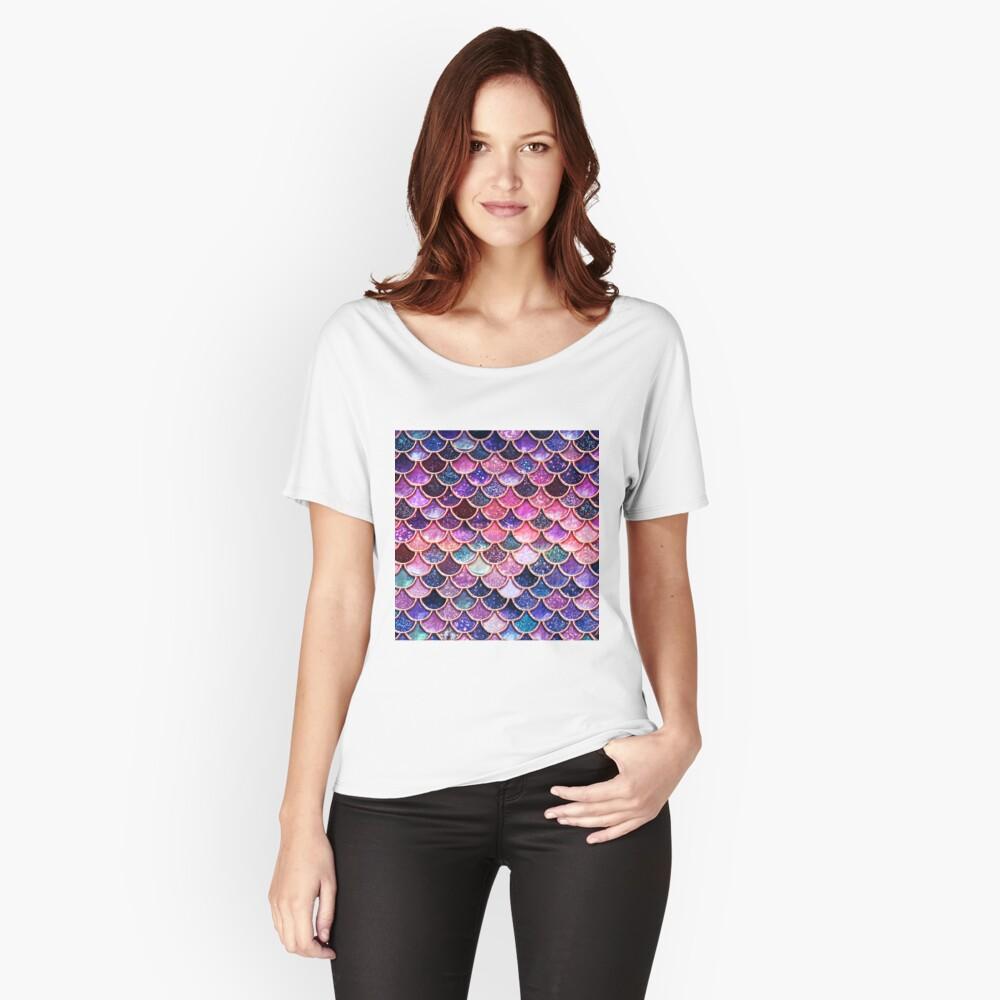 Rosa Sparkle Faux Glitter Meerjungfrau Skalen Loose Fit T-Shirt