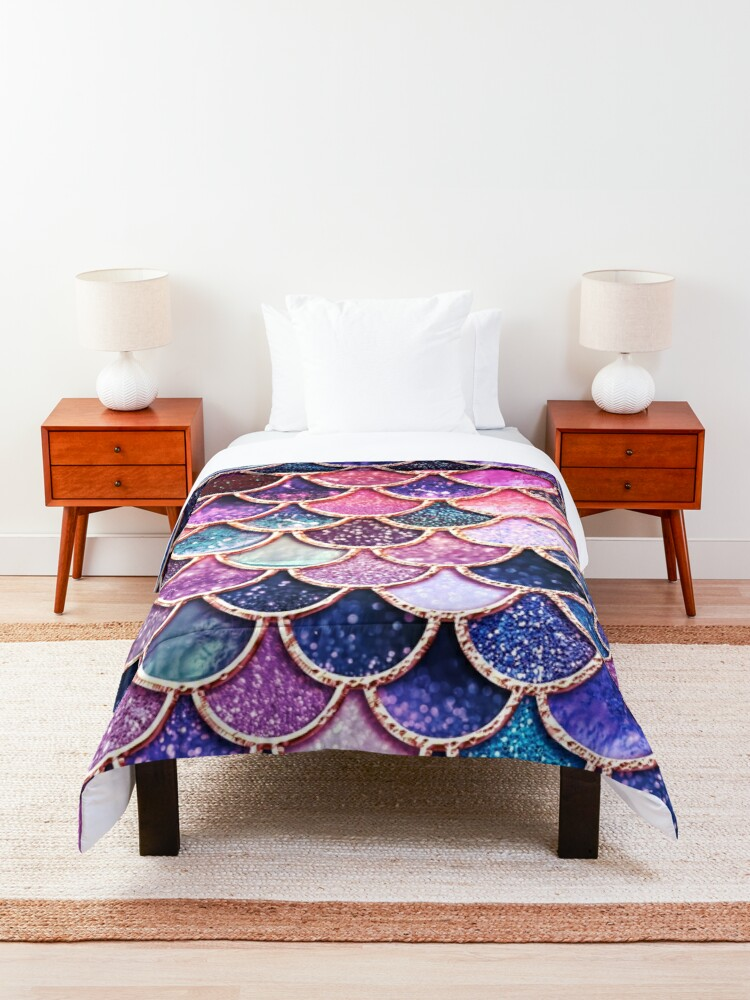 Alternate view of Pink Sparkle Faux Glitter Mermaid Scales Comforter