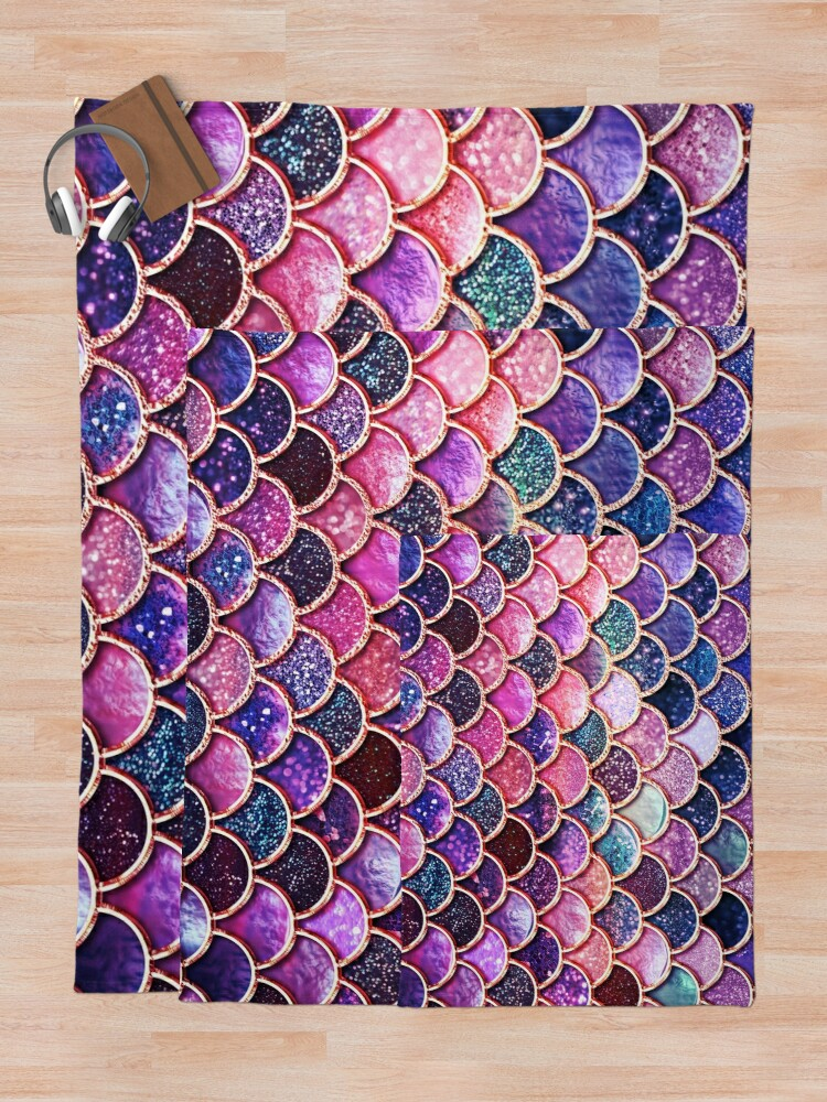 Alternate view of Pink Sparkle Faux Glitter Mermaid Scales Throw Blanket