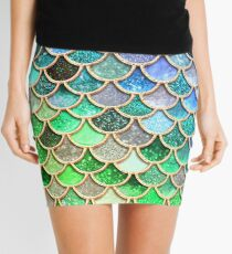 Green and Blue Sparkle Faux Glitter Mermaid Scales Mini Skirt