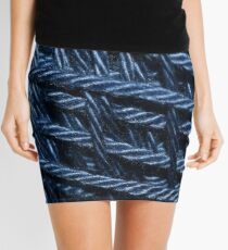 Blue Cotton Yarn Texture Mini Skirt
