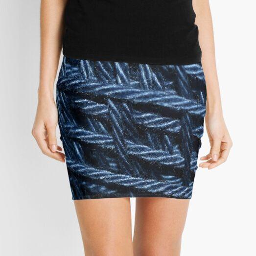 Blue Cotton Yarn Texture Mini Skirt