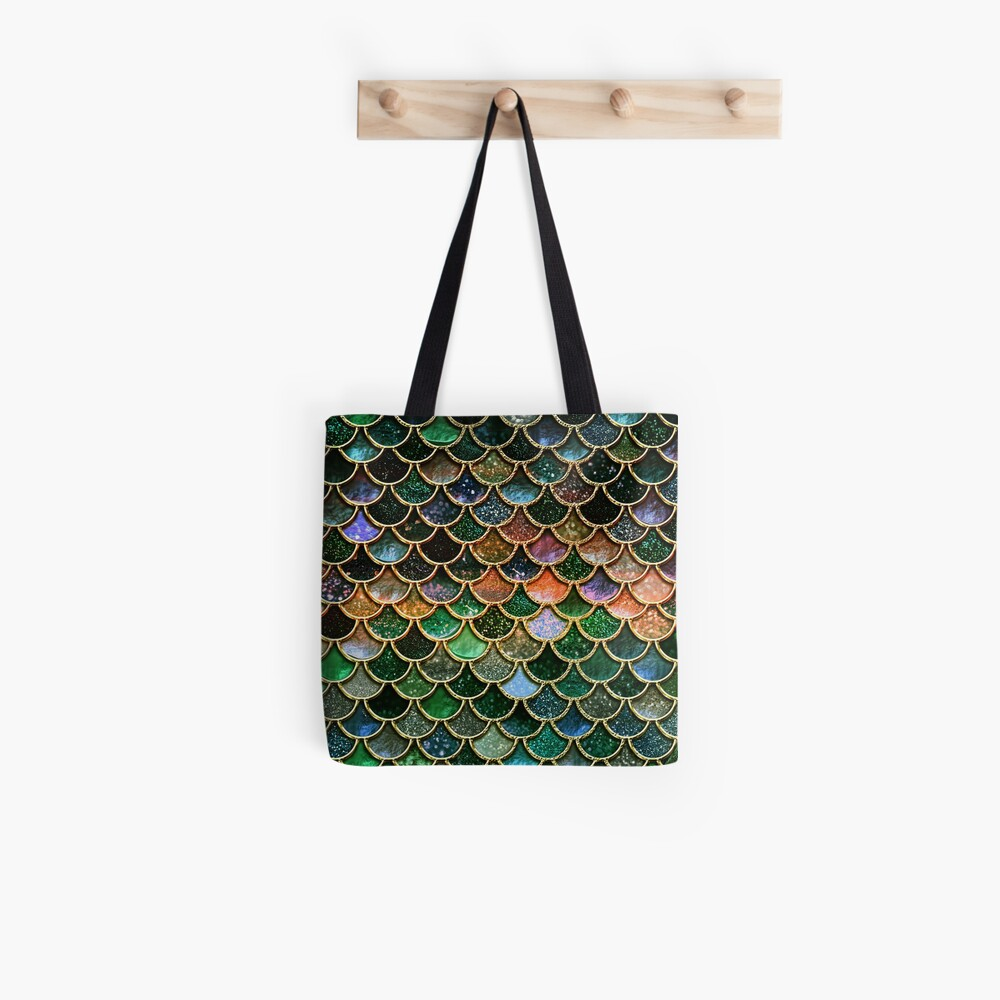 Green Sparkle Faux Glitter Mermaid Scales Tote Bag