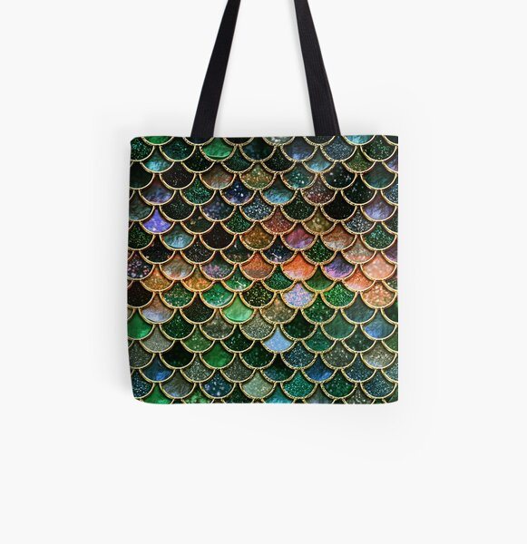Green Sparkle Faux Glitter Mermaid Scales All Over Print Tote Bag