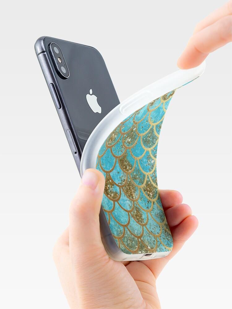 Alternative Ansicht von Teal, Gold Glitter und Blue Sparkle Faux Glitter Meerjungfrau Skalen iPhone-Hülle & Cover