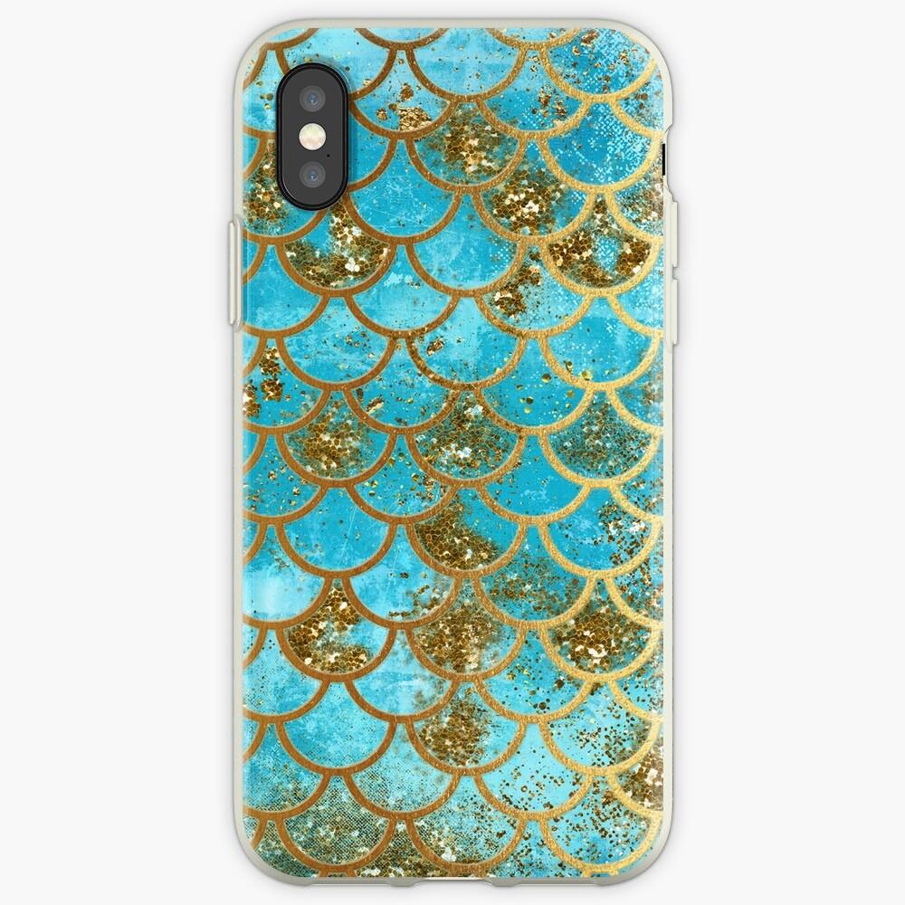 Teal, Gold Glitter und Blue Sparkle Faux Glitter Meerjungfrau Skalen iPhone-Hülle & Cover