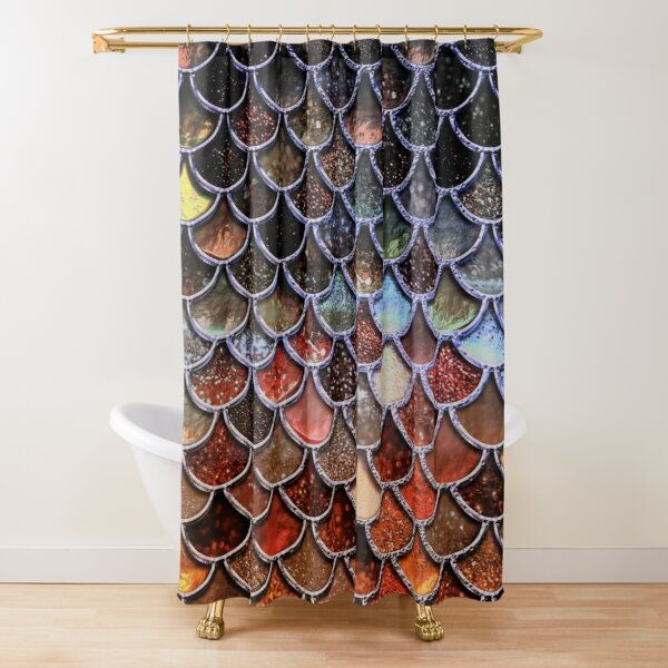 Warm and Cosy Brown Ombre Sparkle Faux Glitter Mermaid Scales Shower Curtain