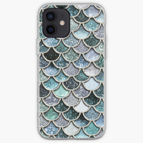 Teal, Silver and Green Sparkle Faux Glitter Mermaid Scales iPhone Soft Case