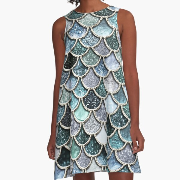 Teal, Silver and Green Sparkle Faux Glitter Mermaid Scales A-Line Dress