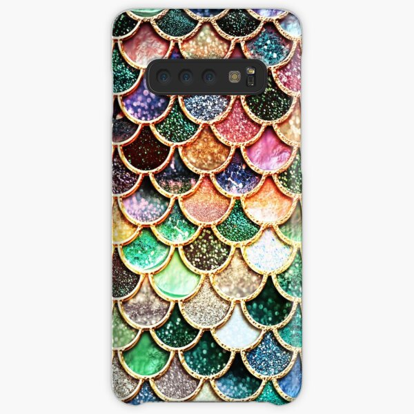 Copper Green Gold and Pink Sparkle Faux Glitter Mermaid Scales Samsung Galaxy Snap Case