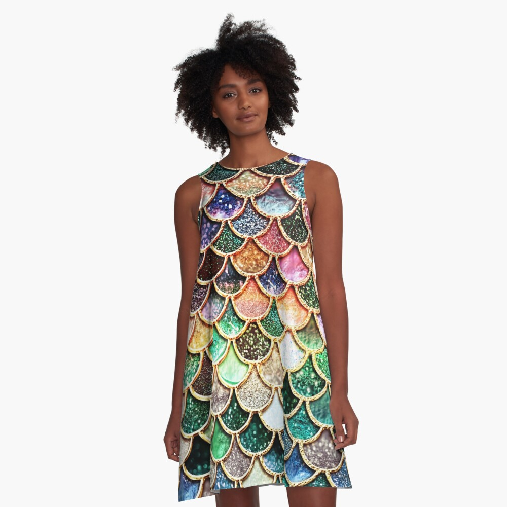 Copper Green Gold and Pink Sparkle Faux Glitter Mermaid Scales A-Line Dress
