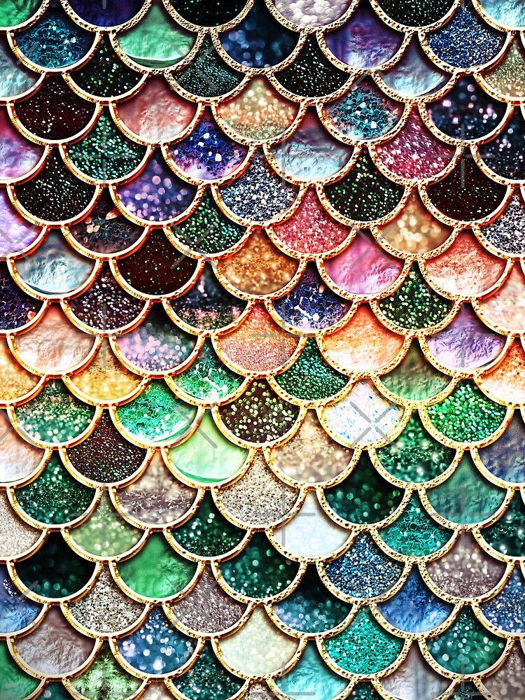 Copper Green Gold and Pink Sparkle Faux Glitter Mermaid Scales by UtArt