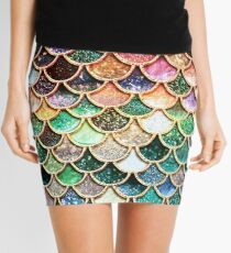Copper Green Gold and Pink Sparkle Faux Glitter Mermaid Scales Mini Skirt