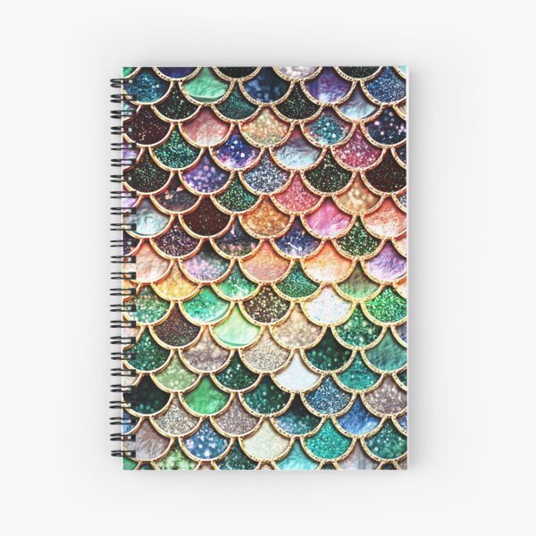 Copper Green Gold and Pink Sparkle Faux Glitter Mermaid Scales Spiral Notebook