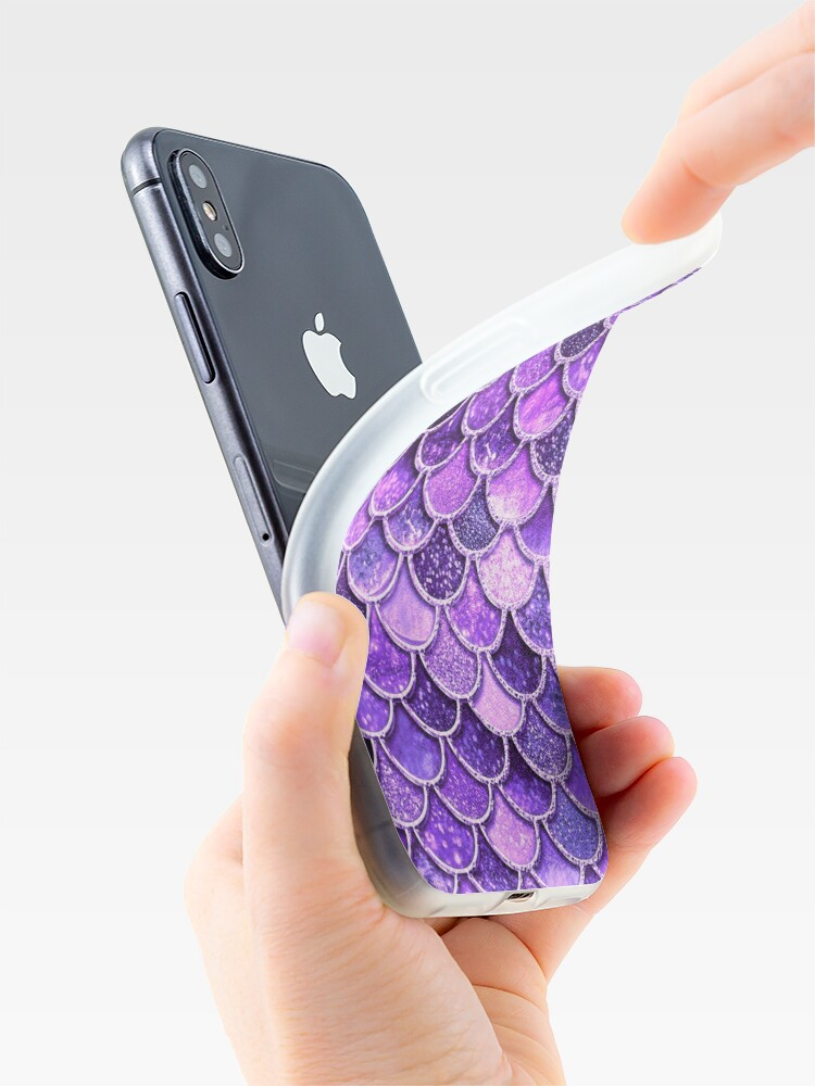 Alternate view of Ultra Violet Sparkle Faux Glitter Mermaid Scales iPhone Case & Cover