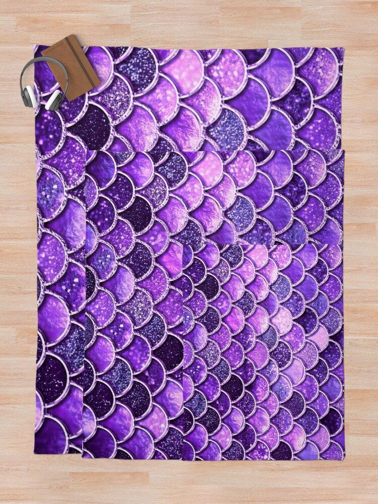 Alternate view of Ultra Violet Sparkle Faux Glitter Mermaid Scales Throw Blanket