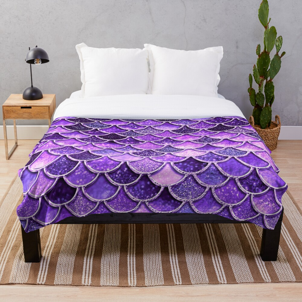 Ultra Violet Sparkle Faux Glitter Mermaid Scales Throw Blanket