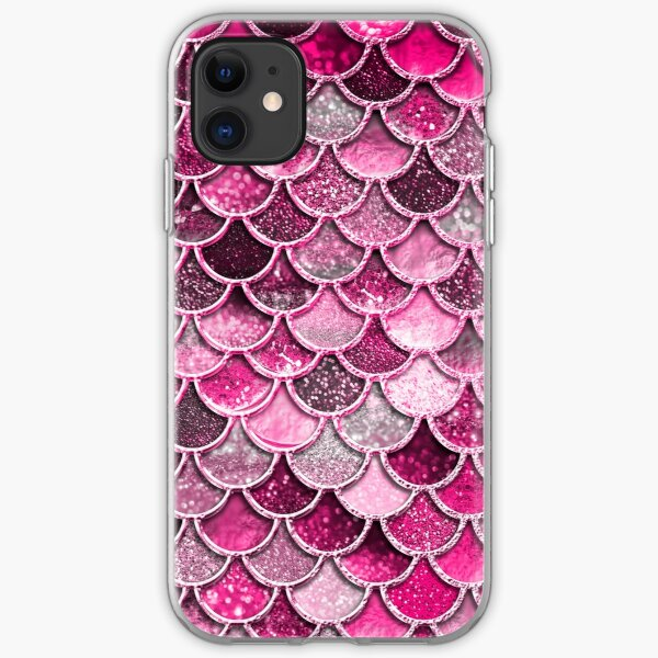 Pink Purple Magenta Sparkle Faux Glitter Mermaid Scales iPhone Soft Case