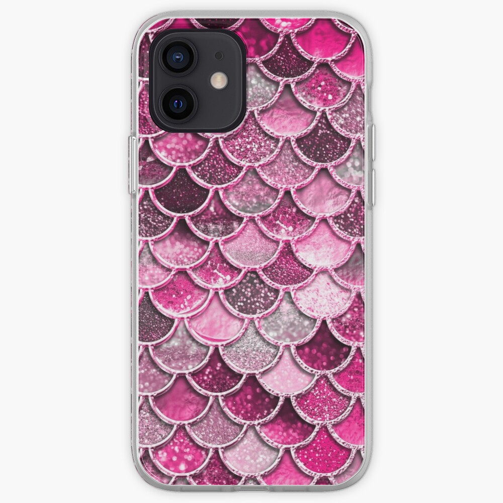 Pink Purple Magenta Sparkle Faux Glitter Mermaid Scales iPhone Case & Cover