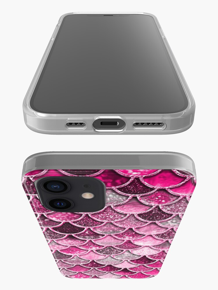 Alternate view of Pink Purple Magenta Sparkle Faux Glitter Mermaid Scales iPhone Case & Cover