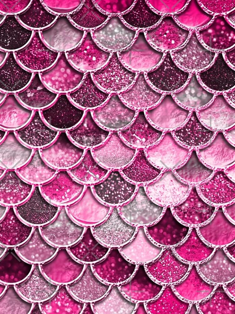 Pink Purple Magenta Sparkle Faux Glitter Mermaid Scales by UtArt