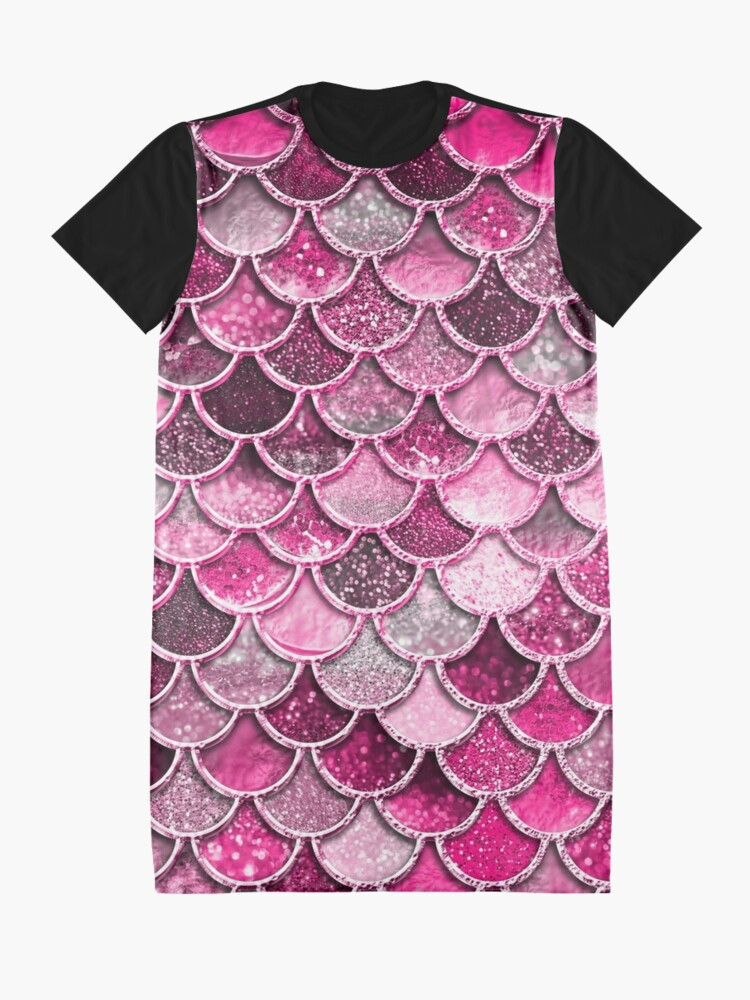 Alternate view of Pink Purple Magenta Sparkle Faux Glitter Mermaid Scales Graphic T-Shirt Dress