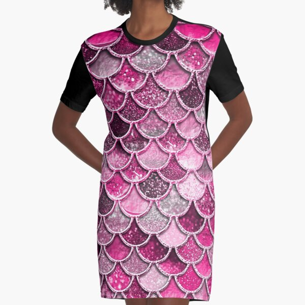 Pink Purple Magenta Sparkle Faux Glitter Mermaid Scales Graphic T-Shirt Dress