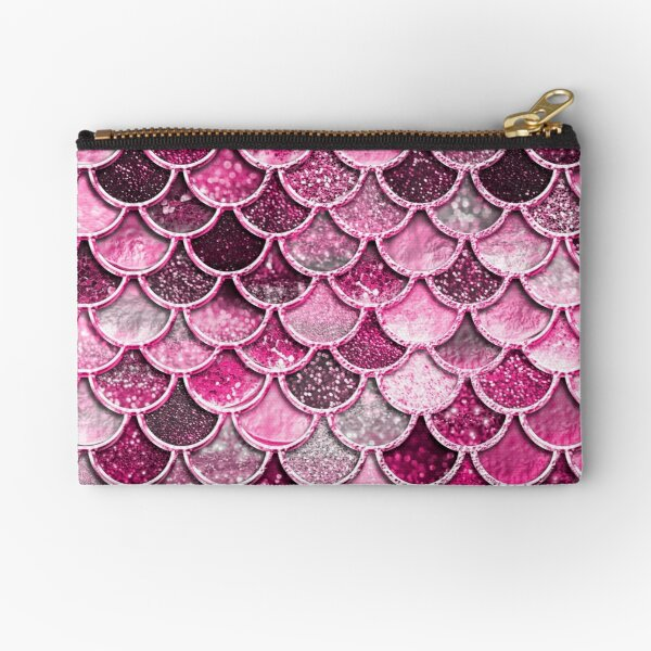 Pink Purple Magenta Sparkle Faux Glitter Mermaid Scales Zipper Pouch