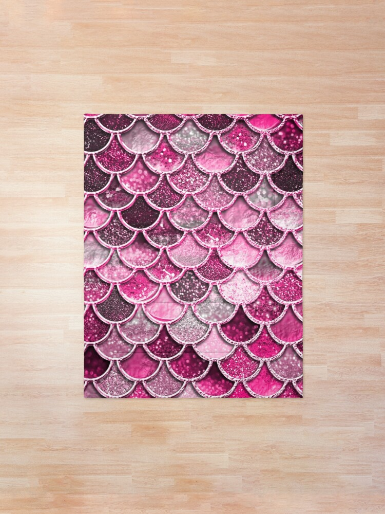 Alternate view of Pink Purple Magenta Sparkle Faux Glitter Mermaid Scales Comforter