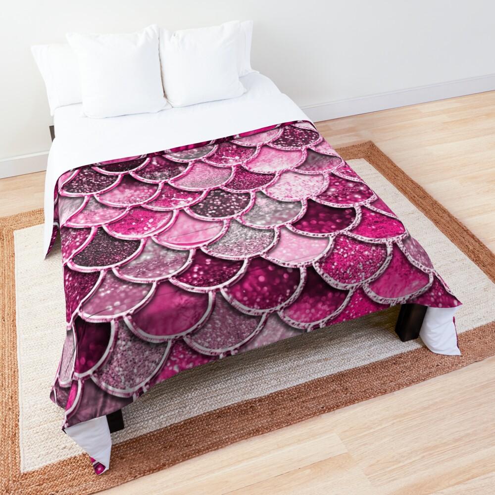 Pink Purple Magenta Sparkle Faux Glitter Mermaid Scales Comforter