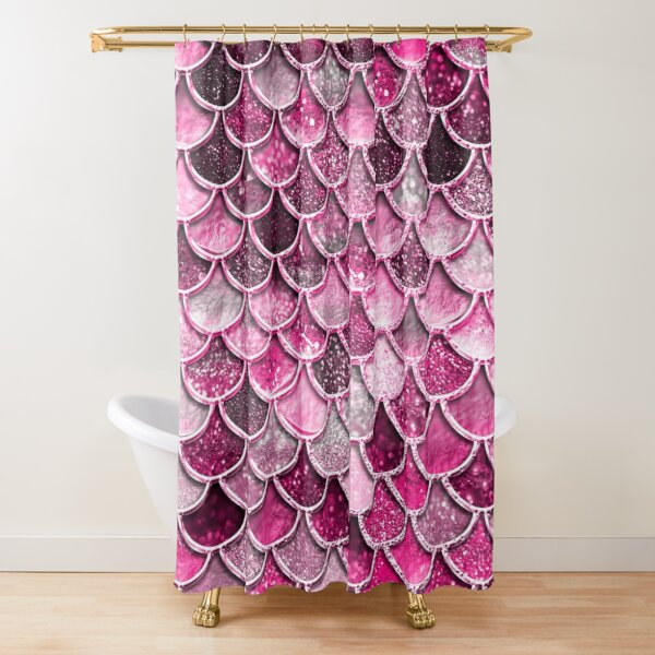 Pink Purple Magenta Sparkle Faux Glitter Mermaid Scales Shower Curtain
