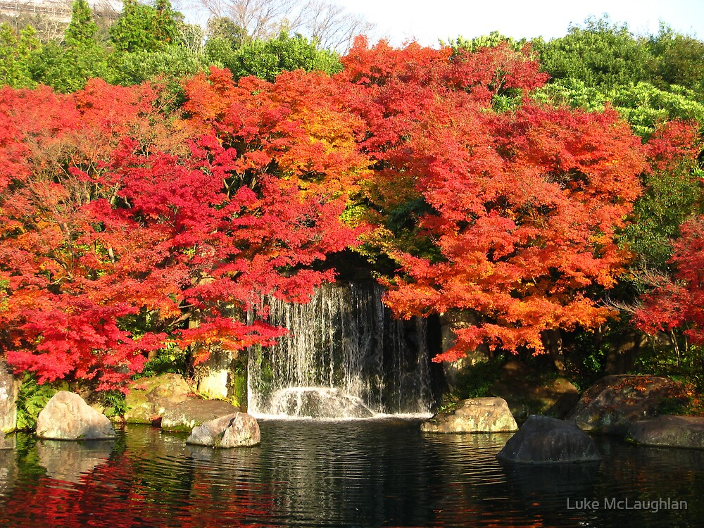 Himeji Gardens in Autumn Waterfall 2 by Luke McLaughlan