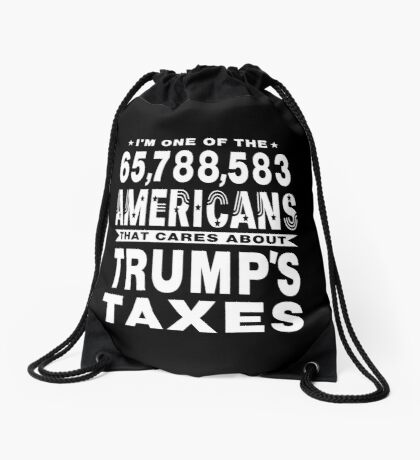 Americans Care Trumps Taxes Drawstring Bag