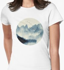 Japanese Mountain Landscape Graphic T-Shirt Women's Fitted T-Shirt