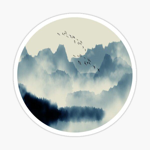 Japanese Mountain Landscape Graphic T-Shirt Sticker