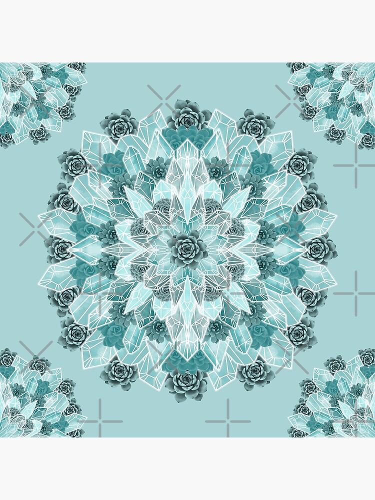 Crystals Succulents Mandala MINT GREEN by PrintablesP