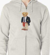 Preppy Smart Blazer Polo Bear  Zipped Hoodie